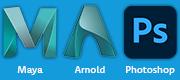 Autodesk Maya, Arnold, Adobe Photoshop