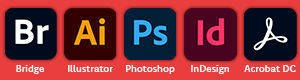 Adobe Bridge, Adobe Illustrator, Adobe Photoshop, Adobe Indesign, Adobe Acrobat
